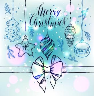 Mery christmas hand getrokken illustratie.