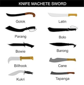 Mes machete zwaard infographics mes machetes set collectie messen voor diverse doeleinden