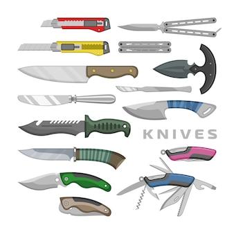 Mes vector pennemes staal hulpmiddel metalen mes snijden apparatuur illustratie