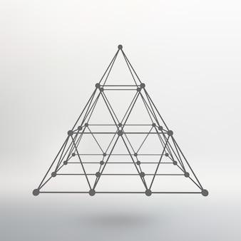 Mesh veelhoekige piramide van de lijnen en punten atoomrooster