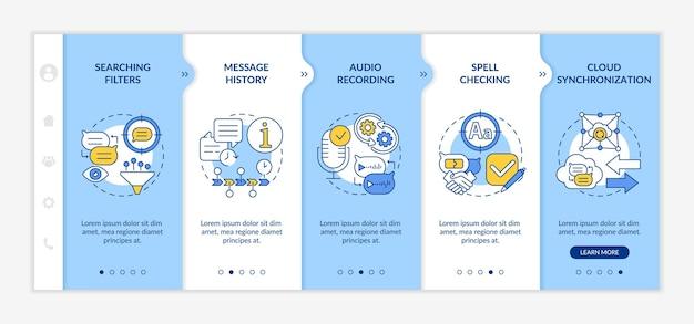 Messaging-functies profiteren van onboarding-vectorsjabloon. responsieve mobiele website met pictogrammen. webpagina walkthrough 5 stappen schermen. software voor chatten over kleurconcept met lineaire illustraties