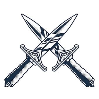 Messen gekruist. uitdaging om te vechten. gevaarlijk gevecht. plat logo