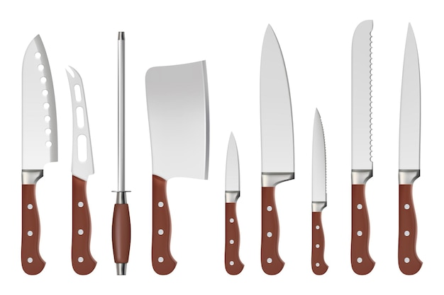 Messen. slager professionele messen met scherpe handgreep keukengerei restaurantaccessoires voor kok vector close-up geïsoleerde foto's