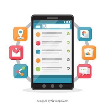Messenger-app voor mobiel in vlakke stijl