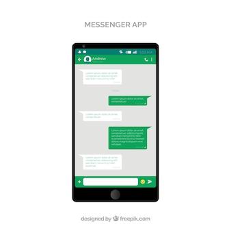 Messenger-applicatie voor mobiel in vlakke stijl