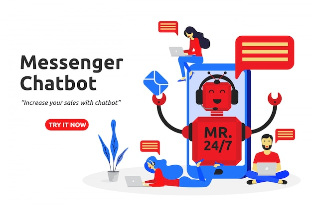 Messenger chatbot concept moderne platte ontwerp