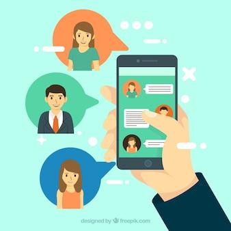 Messenger-toepassing in platte stijl
