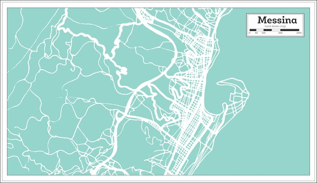 Messina italië stadsplattegrond in retro stijl. overzicht kaart. vectorillustratie.