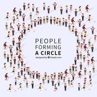 Messy mensen vormen een cirkel