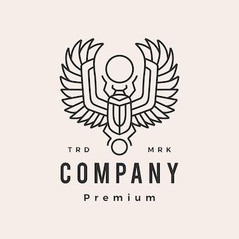 Mestkever egyptische hipster vintage logo sjabloon