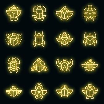 Mestkever pictogrammen instellen. overzicht set van mestkever vector iconen neon kleur op zwart