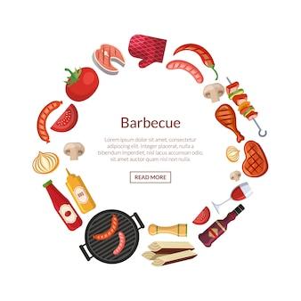 Met barbecue, grill of steak kookelementen in cirkel met plaats voor tekst in het midden