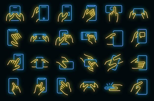 Met behulp van smartphone pictogrammen instellen. overzichtsreeks van het gebruiken van de neonkleur van smartphone vectorpictogrammen op zwart