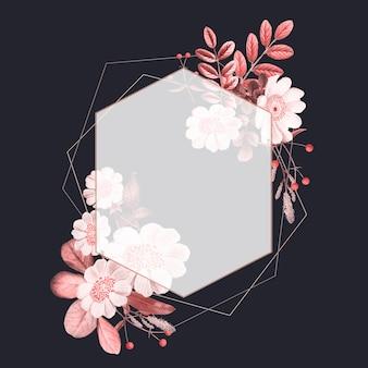Met bloemen en fruit versierd frame