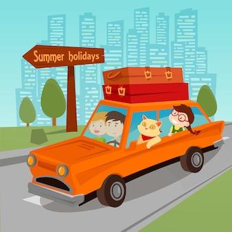 Met de auto reizen. familie zomervakantie. familie in auto. vector illustratie