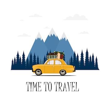 Met de auto reizen. rondrit. tijd om te reizen, toerisme, zomervakantie. platte ontwerp illustratie