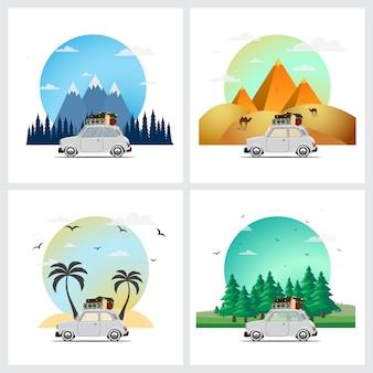 Met de auto reizen. rondrit. tijd om te reizen, toerisme, zomervakantie.