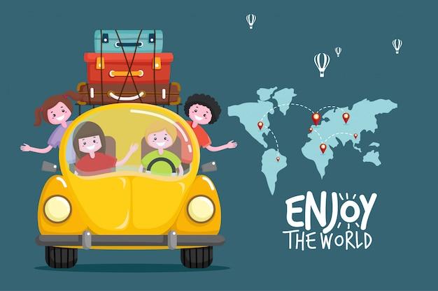 Met de auto reizen. wereldreis. planning van zomervakanties. toerisme en vakantie thema.