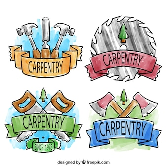 Met de hand beschilderd badges voor houtbewerking