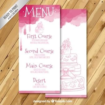 Met de hand beschilderd bruiloft menu