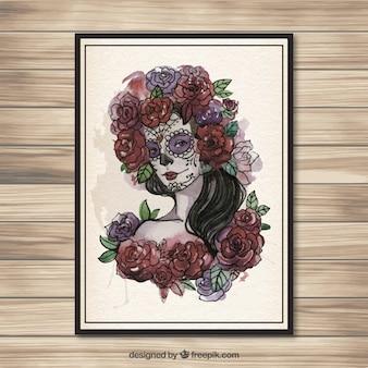 Met de hand beschilderd catrina schedel poster