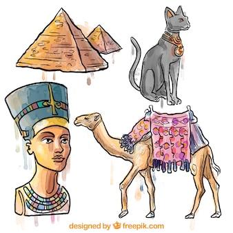 Met de hand beschilderd egypte cultuur elementen