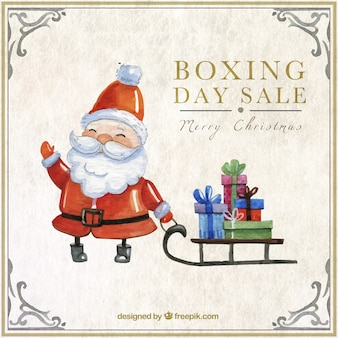 Met de hand beschilderd kerstman boxing day verkoop