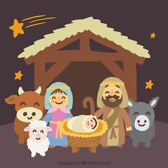 Met de hand beschilderd mooie kerststal