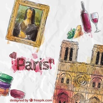 Met de hand beschilderd paris elementen