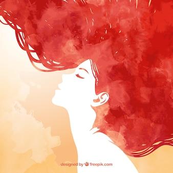 Met de hand beschilderd redhead vrouw