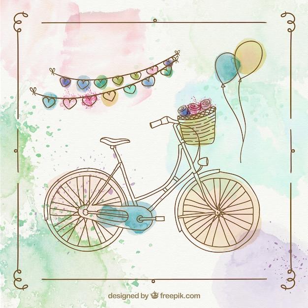Met de hand beschilderd retro fiets