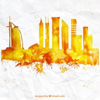 Met de hand beschilderd skyline van dubai
