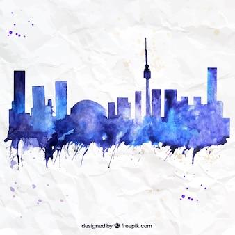 Met de hand beschilderd skyline van toronto