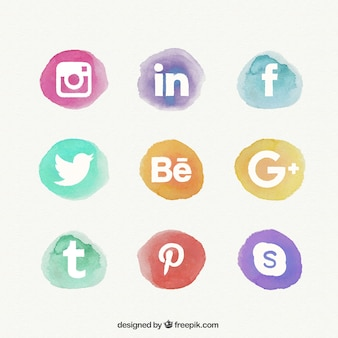 Met de hand beschilderd social network icons pack