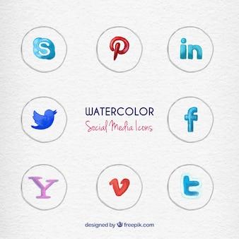 Met de hand beschilderd sociale media pictogrammen
