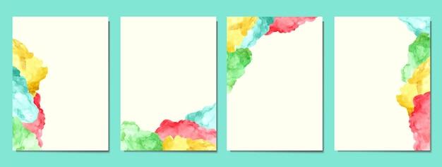 Met de hand beschilderd van abstracte en kleurrijke vlek aquarel covers