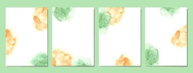 Met de hand beschilderd van groene en bruine abstracte aquarelomslagen