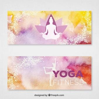 Met de hand beschilderd yoga banners met witte silhouetten
