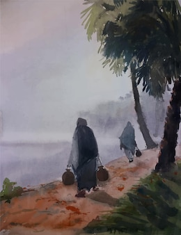 Met de hand gemaakt aquarel schilderij vissersschip op de zee illustratie