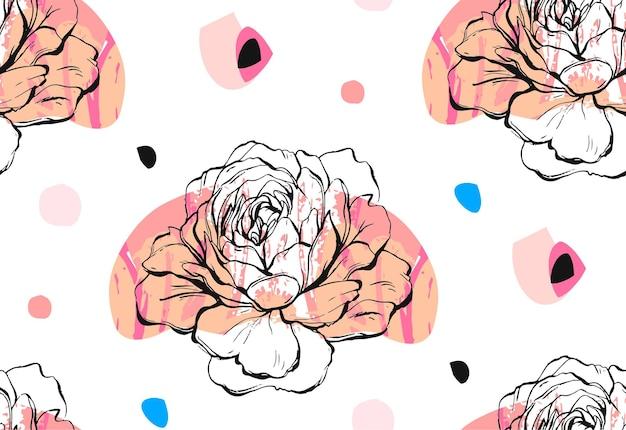 Met de hand gemaakt naadloos patroon met bloemen pioenmotief