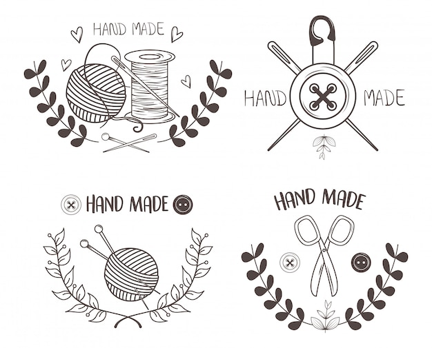 Met de hand gemaakt naaien set pictogrammen