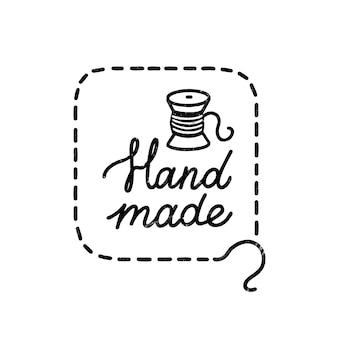 Met de hand gemaakt pictogram of logo. vintage stempel icoon met handgemaakte letters en spoel. vintage illustratie voor banner en label