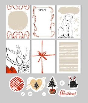 Met de hand gemaakte kerstset met kaarten, notities, stickers, etiketten, stempels, labels met winter- en kerstillustraties en wensen.sjabloon voor begroeting van schrootboeking, gefeliciteerd, uitnodigingen, journaling.