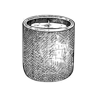 Met de hand geschetst aromatische kaarsillustratie van paraffinekaarsen