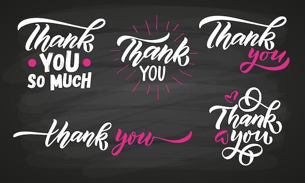 Met de hand geschetst beletteringssjablonen voor bedankjes handgeschreven inspirerende citaten bedankt handgetekend