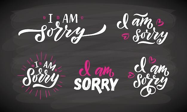 Met de hand geschetst sorry belettering sjablonen handgeschreven inspirerende citaten het spijt me eps10