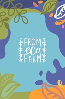 Met de hand geschetste achtergrond en labels met vegetarisch veganistisch rauw eco bio natuurlijk vers glutenvrij