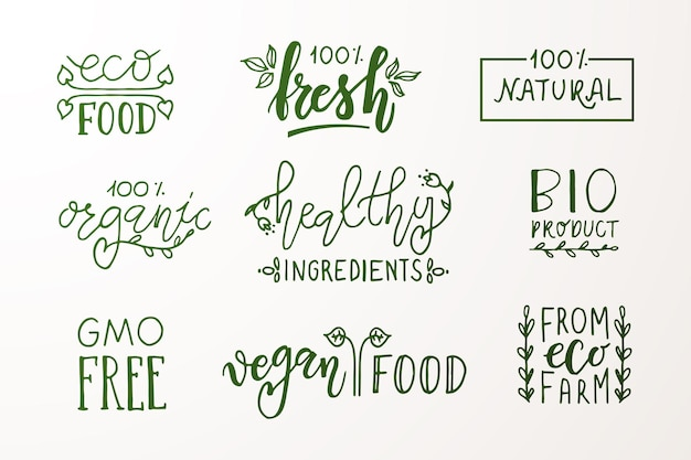 Met de hand geschetste badges en labels met vegetarisch veganistisch rauw eco bio natuurlijk vers glutenvrij ggo-vrij