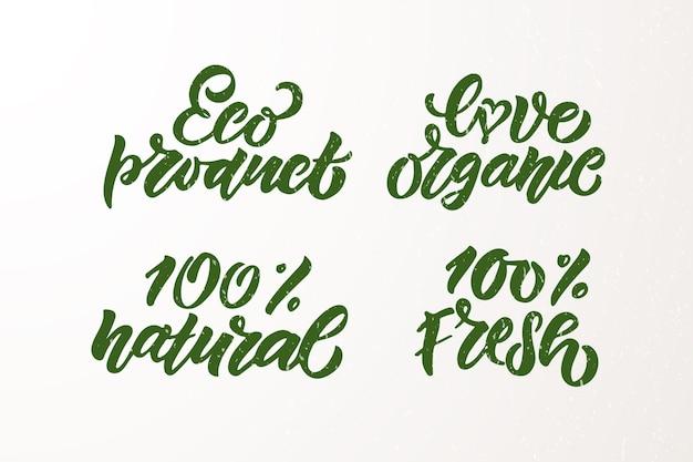 Met de hand geschetste badges en labels met vegetarische veganistische rauwe eco bio natuurlijke verse gluten- en ggo-vrij