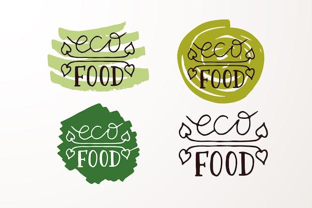 Met de hand geschetste badges en labels met vegetarische veganistische rauwe eco bio natuurlijke verse gluten en